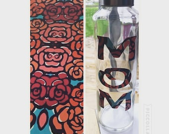 """Lilly Pulitzer Inspired """"Mom"""" Water Bottle"""