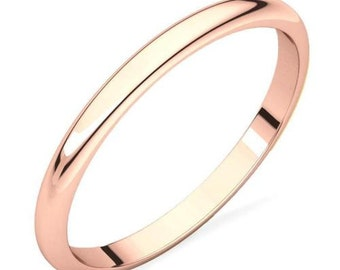 100% Solid 10K Rose Gold Polished Domed Engagement, Anniversary or Wedding Band - 2mm Wide - Custom Ladies Ring Sizes - Regular Fit - Gift