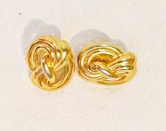 Trifari Gold Tone Knot Post Earrings