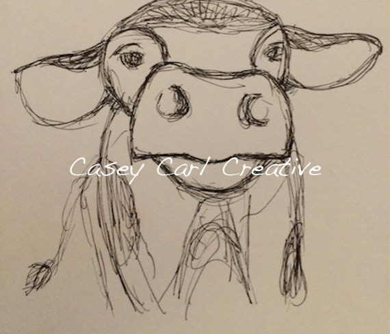Moo Cow Sketch Drawing