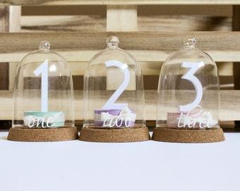 "Table Number - 3D paper sculpture/ illustration; Mini Bell Jar; Cloche; Custom Wedding; Centrepiece; 3""x 5.25"""