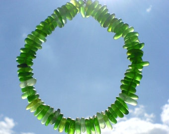 80 center drilled Genuine surf tumbled sea beach glass for jewelry 9-13 mm in length, green
