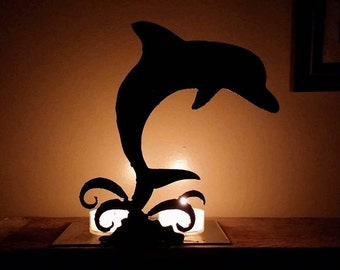 Dolphin steel candle holder