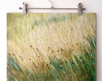 Julian Alps / / / oil pastels / / / oil / / / wood / / / mixed media / / / paintings / / / landscape / / / field / / / green / / / communication