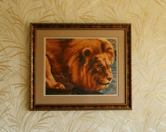Thirsty Lion, The Lion King, Completed cross stitch, Home decoration, Framed cross stitch, Handmade embroidery