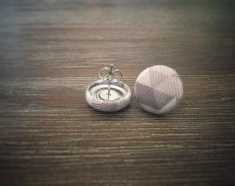 Grey White Geometric Triangle Earrings. Handmade Earrings. Fabric Button Earrings. Gift For Her. Gifts Under 20. Stud Earring. Drop Earring.