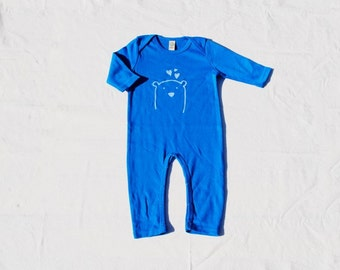 baby jumpsuite organic and fair trade cotton certified handprinted