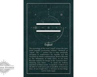 Math Poster, Equal, Equation, Equality, Printable Poster, Maths, Education