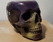Hand made skull doctor who plaster of paris/ tv show/ uk shows/ weird presents/ flower pot