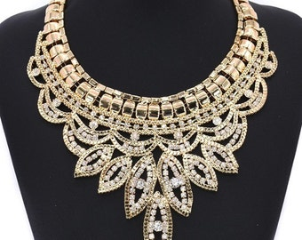 Beautiful gold large statement necklace