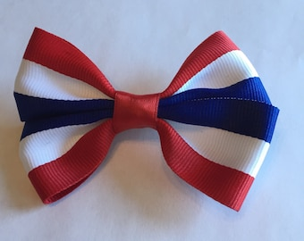 Red white blue patriotic hair bow