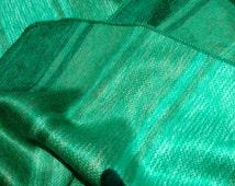 Green striped Alpaca Blanket soft, fluffy and warm