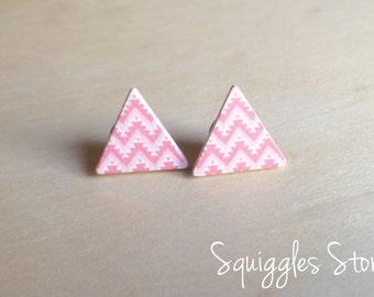 Wooden Triangles Aztec Print - Hypoallergenic Stud Earrings with Titanium Posts - Sensitive  Ears
