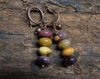 Mookaite Jasper Earings/Copper Earings/Boho Earings/Bohemian Earings/Antique Copper Earings/Old Copper Earings/Mookaite Earings