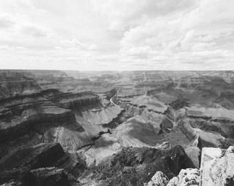 Black and white wall art canvas print of the Grand Canyon, Arizona