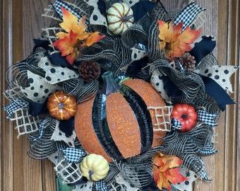 Mesh Fall Wreath With Pumpkins, Burlap Fall Wreath, Mesh Fall Wreath, Fall Wreath, Fall Front Door Wreath, Fall Decor, Pumpkin Wreath