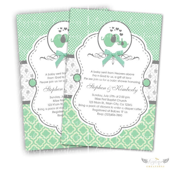 Mint Elephant Invitations & Blank Thank You Card to match