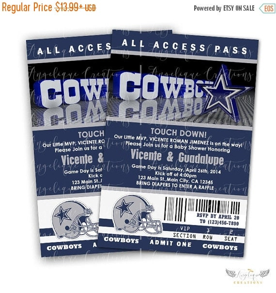 ON SALE Dallas Cowboy Invitations & Blank Thank You Card to match