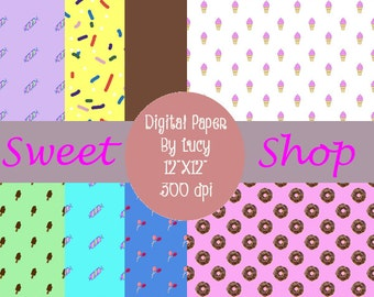 Sweet Shop Digital Paper - Scrap Book Paper