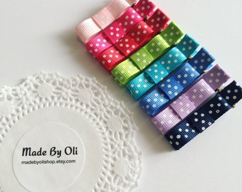 Set of 3, Polka dot with bow Hair clips baby hair clips infant hair clips