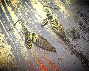 Gold Colored Feather Earrings