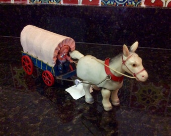 Vintage Wind-Up Celluloid Horse/Cowboy with Covered Wagon- 1950's- Made in Japan