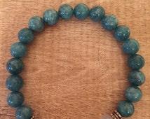Faceted, Genuine Aventurine and Healing bracelet natural stone bracelet unisex bracelet, gemstone, jewelery teal stone