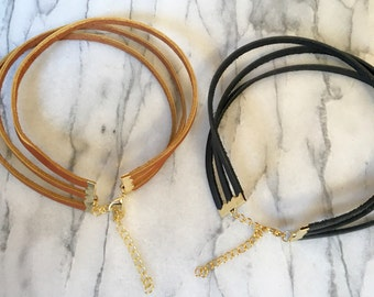 Triple Leather Choker- Black Leather Choker- Brown Leather Choker