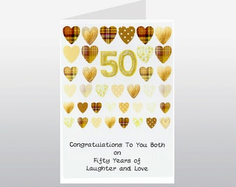 Golden Wedding Anniversary Card Rows of Hearts WWWE67