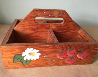 Hand Made Caddy Carry-All Woodshop Project with Strawberry Design