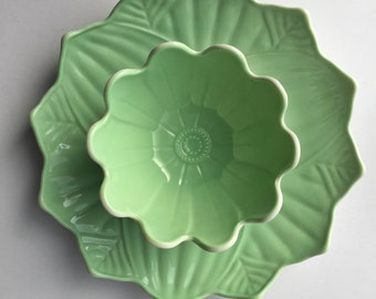 Stunning Lotus Flower Bowl and Lotus Leaf Plate Jade Green and White Glass