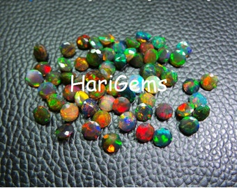 5 Pieces lot 5mm Black Opal Faceted Round Loose Gemstone Top Quality Natural Ethiopian Black Opal Gemstone Wholesale Faceted Black Opal