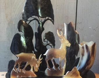 Hand Carved Horn Sculpture of deer, trees---air plant vase / planter