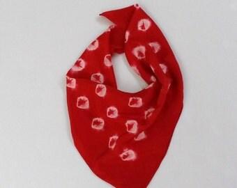 shibori silk scarf small red