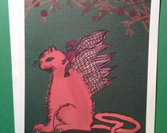 Faerie Cat notecards - set of 6 notecards with envelopes