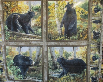 Black Bear with Cub, in Woods Pillow Panel, Springs