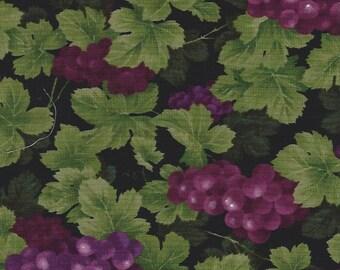 Purple Grapes on Black, Timeless Treasures