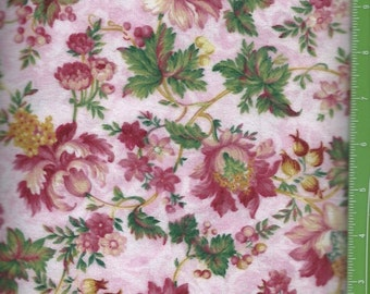 Bright pink flowers on Light Pink flannel