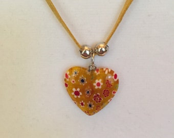 Printed Heart Charm Necklace