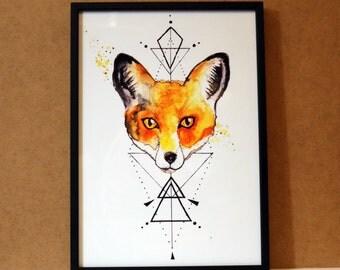 Watercolour Fox Print//A4 or A5// Geometric