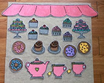 Bakery Tea Pretend Play Set in Pink Preschool Toy Customizable