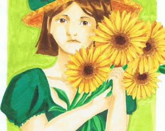 Art Print - Artwork - Girl and Sunflowers