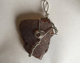 Brown Lake Erie Wire-Wrapped Beach Glass Pendant