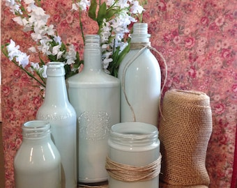 Pale Mint Green or CUSTOM Painted Upcycled Glass Jars