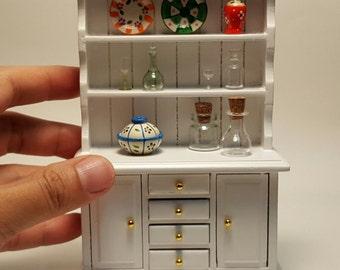 Vintage Cabinet Wood & Bottles Glass, Bowl, Dish for Dollhouse Miniature