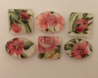 Set of 6  Floral Magnets