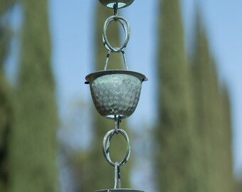 Pure Copper Hammered Cup Rain Chain Green Patina 8.5 ft