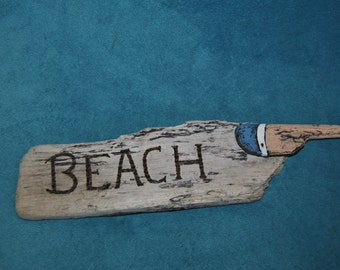 Pointing beach sign
