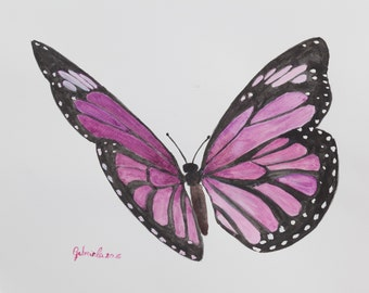 Watercolor print by me made, Purple Butterfly