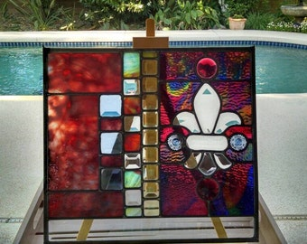 Fleur de lis Crest - stained glass window panel geometric medieval red